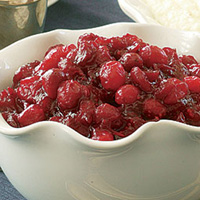 Cranberries in the maple syrup